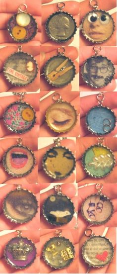 Resin Bottle Cap Necklace - DIY Craft Project Instructions This jewelry making project shows you how to recycle an old bottle cap to create a pendant for a necklace. Bottle Cap Jewelry, Bottle Cap Necklace, Bottle Cap Art, Diy Necklace, Necklaces, Resin Necklace, Diy Bottle Cap Crafts, Bottle Cap Projects, Bottle Cap Magnets