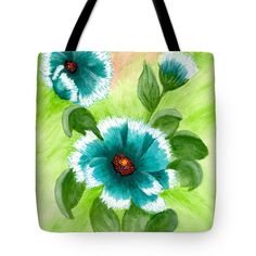 "Talkin Teal Tote Bag by Flamingo Graphix John Ellis (18"" x 18"").  The tote bag is machine washable, available in three different sizes, and includes a black strap for easy carrying on your shoulder.  All totes are available for worldwide shipping and include a money-back guarantee."