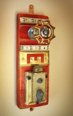 Items similar to Coat Rack Wall Hanger Garden Faucet Handle Red Door Lock Latch Brass Stencil Repurposed Upcycled Recycled Baseboard Distressed No. 16 on Etsy Vintage Furniture, Industrial Furniture, Vintage Industrial, Furniture Design, Initial Wall Art, Vintage Door Knobs, Garden Deco, Found Object Art, Scrap Metal Art