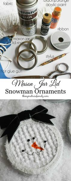 Mason Jar Lid Snowman Ornaments are cute and easy to make. by annabelle Easy Christmas Crafts, Homemade Christmas Gifts, Diy Christmas Ornaments, Christmas Snowman, Kids Christmas, Elegant Christmas, Crochet Christmas, Disney Christmas, Christmas Stuff