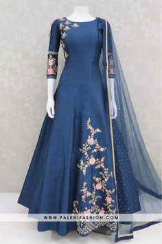 indian gowns dresses Trendy Blue Colored Embroidery Work Indian Outfit From Palkhi Fashion Indian Gowns Dresses, Indian Fashion Dresses, Dress Indian Style, Indian Designer Outfits, Pakistani Dresses, Pakistani Bridal, Fashion Outfits, Uk Fashion, African Fashion