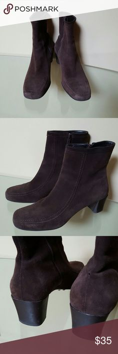 """Suede Ankle Boots Ann Taylor Loft. Chocolate brown suede upper; leather lining and insoles; topstitching; inside zipper; 2.25"""" dark brown heels. I wear 9.5 and although a little snug because they run narrow, they fit. Great quality boots... Very good condition. LOFT Shoes Ankle Boots & Booties"""