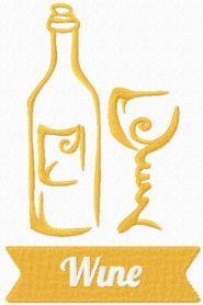 Wine symbol free machine embroidery design. Machine embroidery design. www.embroideres.com