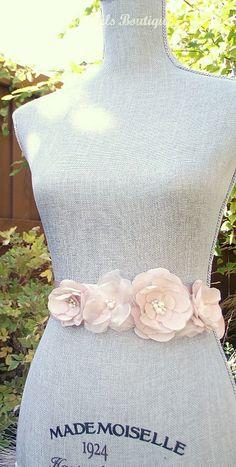 Amsale Inspired Blush Wedding Sash, Bridal Sash, Wedding Belt, Bridal Belt -Blush Flowers