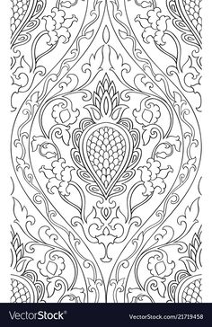 Pattern with damask. Black and white template for wallpaper, textile, shawl, carpet. Folk Embroidery, Indian Embroidery, Hand Embroidery Designs, Embroidery Patterns, Cross Stitch Patterns, Embroidery Stitches, Detailed Coloring Pages, Colouring Pages, Coloring Books