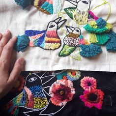 Tactile Hoop Art Inspired by the Colorful Beauty of Floating Gardens Floating Garden, Sewing Rooms, Textile Art, Hoop, Crochet Necklace, Arts And Crafts, Textiles, Gardens, Colorful