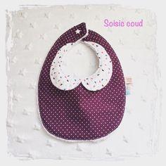 Bavoir col claudine - naissance - coton/éponge - prune/blanc : Mode Bébé par soisiccoud