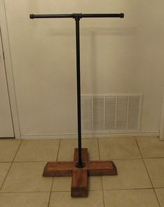 T stand clothing rack cross style garment by Vintagesteelandwood, $100.00