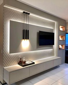 5 Amazing Ways to Upgrade Your Living Room TV Wall - Are you bored with the same old flat screen arrangement? Then why not try one of these five amazing ideas for your living room TV wall. Living Room Tv Unit Designs, Ceiling Design Living Room, Tv Wall Design, Kitchen Room Design, Home Room Design, Home Interior Design, House Design, Room Kitchen, Kitchen Designs