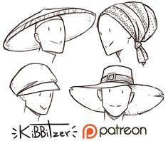 Official Post from kibbitzer: MORE HATS. I LOVE HATS.Now I'm thinking to draw masks!I like masks <3------------------------------------------------------------------------This is a $1 reward! After all the pledges get processed by patreon you'll get:-Full version with 9 hats-the  monthly standard reference sheetsRules: -don't sh