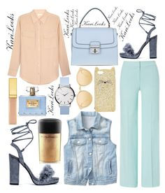 """""""Gold Cat"""" by karilooks ❤ liked on Polyvore featuring Equipment, ESCADA, Gap, Dolce&Gabbana, Kate Spade, Linda Farrow, AERIN, MAC Cosmetics and Versace"""