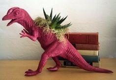 Raspberry Dinosaur Planter  Modern Art Centerpiece by CoastalMoss, $40.00