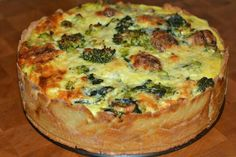 Broccoli, spinach, and meatballpie