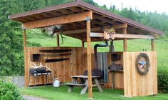 covered picnic shelter outdoor kitchen area