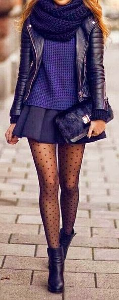 Polka dot tights are such a fun detail. Also that chunky scarf looks so warm.