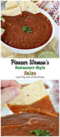 Salsa - recipe from The Pioneer Woman Recipe type: Appetizer Cuisine: Tex-Mex Serves: 12 Ingredients 1 can whole tomatoes, undrained 2 cans diced tomatoes and green chilies, undrained ¼ cup chopped onion 1 clove garlic, minced 1 whole jala Mexican Food Recipes, New Recipes, Cooking Recipes, Favorite Recipes, Recipies, Mexican Style Salsa Recipe, Amazing Food Recipes, Potato Recipes, Vegetable Recipes