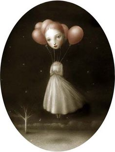 Balloon Girl - Dark and dreamy works by Nicoletta Ceccoli #art #painting #mark #ryden #lowbrow