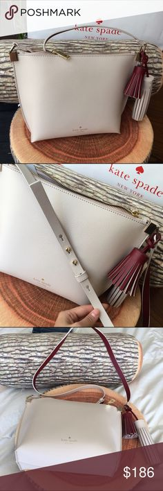 NEW Kate Spade Leather Crossbody Gorgeous bag! Nude + cherry, lovely color combinations! Tags included. kate spade Bags Crossbody Bags