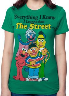 Sesame Street t-shirt featuring Bert, Ernie, Elmo, and Super Grover with the quote