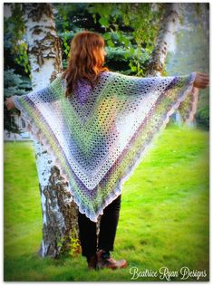 Amazing Grace Angel Wing Shawl free crochet pattern in It's a Wrap Rainbow from Beatrice Ryan Designs. Prayer Shawl Crochet Pattern, Prayer Shawl Patterns, Crochet Prayer Shawls, Crochet Shawl Free, Crochet Shawls And Wraps, Crochet Scarves, Crochet Clothes, Crochet Hats, Ponchos