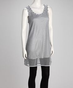 Take a look at this Gray Studded Mesh Plus-Size Tunic by Lily on #zulily today!