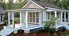 12 Surprising Granny Pod Ideas for the Backyard_ Granny Cottage porches_allcreated Downsizing to spend more time with your kids and grandkids? These Surprising Granny Pod ideas are a great way to maintain independence with charm! Small Cottage Designs, Small Cottage House Plans, Small Cottage Homes, Backyard Cottage, Small Cottages, Small House Plans, Tiny Homes, Backyard House, Small Guest Houses