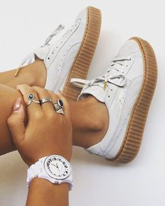Tendance Sneakers : PUMA RIHANNA WHIT SUEDE CREEPERS 3 3.5 4 4.5 5 6 7 8 FENTY CREEPER RIRI OATMEAL