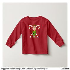 Happy Elf with Candy Cane Toddler T-Shirt