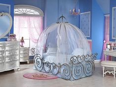 Adorable Cinderella Inspired Colorful Girls Bedroom with Chic Canopy Carriage Bed and Vintage White Dresser also Light Pink Curtain