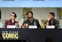 "Jared Padalecki Photos Photos - (L-R) Executive producer/writer Jeremy Carver, actors Jared Padalecki and Jensen Ackles speak onstage at the ""Supernatural"" panel during Comic-Con International 2015 at the San Diego Convention Center on July 12, 2015 in San Diego, California. - The 'Supernatural' Panel at Comic-Con International 2015"