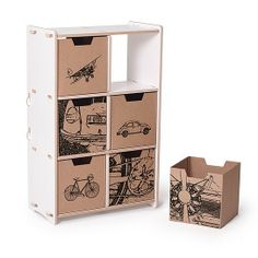 City Print Cardboard Cubby Bins (6 Pack) from Sprout - storage bins for kids' toys