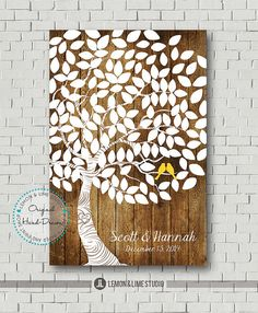 Unique Wedding Guest Book  Bridal Gift by lemonANDlimeStudio, $35.00 or like this for my guestbook... birds in my  wedding colors