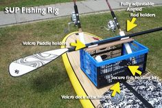 Simple sup fishing rig with integrated paddle holder.
