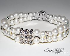 Wedding Pearl Bracelet Swarovski White Round Pearls by LanaChayka, $35.00