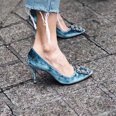 Velvet Shoes from Manolo Blahnik. Pump Shoes, Women's Shoes, Shoe Boots, Mid Heel Shoes, Fall Shoes, Shoes Style, Shoes Men, Platform Shoes, Manolo Blahnik Heels