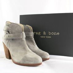 "rag & bone Harrow Suede Ankle Booties size 35.5 New with box, rag & bone Harrow Suede Ankle Booties size 35.5.  Please note that there is a small defect on the front of the left boot (pictured).  I have taken it to a cobbler to see if it can be removed. Details: Distressed suede bootie with wraparound ankle strap.  Stacked wooden heel, 3.5"" (90mm) Shaft,3.  Leg circumference, 10"" Suede upper. Leather lining and sole.    Capped point toe Side zip Leather lining and sole Padded insole Made in…"