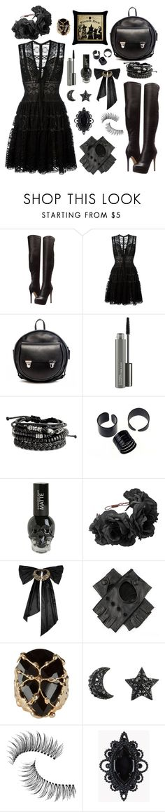 """Black"" by colphi ❤ liked on Polyvore featuring Chinese Laundry, Elie Saab, Alisa Smirnova, MAC Cosmetics, Hot Topic, Rock 'N Rose, Oscar de la Renta, Black, Rosantica and Trish McEvoy"