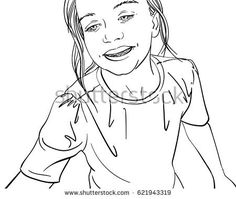 Hand drawn illustration of happy young girl, Vector line art