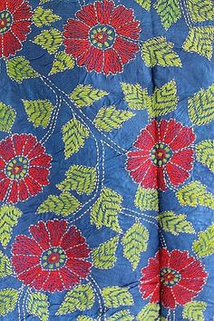 Really beautiful, delicate, hand embroidered, blue colored, pure silk material with bold red flowers and green leaves embroidered all over the body of scarf wrap shawl . There is an embroidered multip Border Embroidery Designs, Bird Embroidery, Embroidery Stitches, Embroidery Patterns, Quilting Tutorials, Quilting Designs, Embroidered Quilts, Kantha Stitch, Hand Quilting
