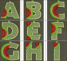 """""""FSL Watermelon Alphabet"""" This delightful #freestandinglace alphabet set is so fun and unique, you'll want to come get yours right away! Ideal for watermelon themed decor, come spell out something yummy today!"""