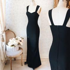 Tuva #Boutique1861 - Also in coral and green - You're never wrong with a black dress ! #promdresses #bridemaids