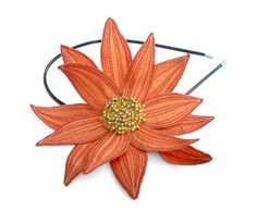 Lotus Flower Headband- Orange Sorbet with Pumpkin and Pale Peach Embroidery- Embroidered and Beaded Lily Flower Headband