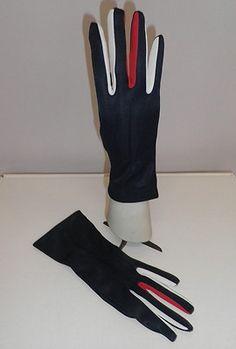 Vintage Patriotic Unworn Red White and Blue Gloves