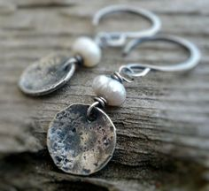 Overcast Earrings - Handmade. Freshwater Pearls. Oxidized, Hammered Sterling Silver