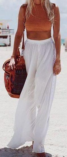 #summer #fashion / orange crop top + palazzo pants