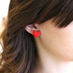 Red Heart Button Earrings - BlueGreenAqua boutique