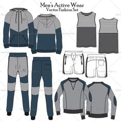 Men's active wear fashion flat vector templates. This file include a track pant, jacket, pullover, shorts, tank top all this sketches in front and back view with detail. This flat also include 3 patter brush of stitch, zipper and hoodie cord. This file also include a design of embroidered patch on the track pant and jacket. Easy to edit and change the style.