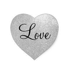 Silver glitter heart shape stickers
