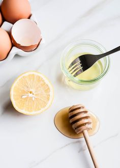 EGG WHITE FACELIFT MASK  1 egg white  1 teaspoon lemon juice  1 teaspoon raw honey   Mix ingredients together and apply to face. Let it dry for 15 to 20 minutes and rinse with warm water. The egg white tightens and tones your face, the lemon reduces age spots and the honey kills bacteria, as well as plumps the skin.