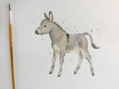 Original watercolour painting - donkey foal by WhimsicolourArt on Etsy